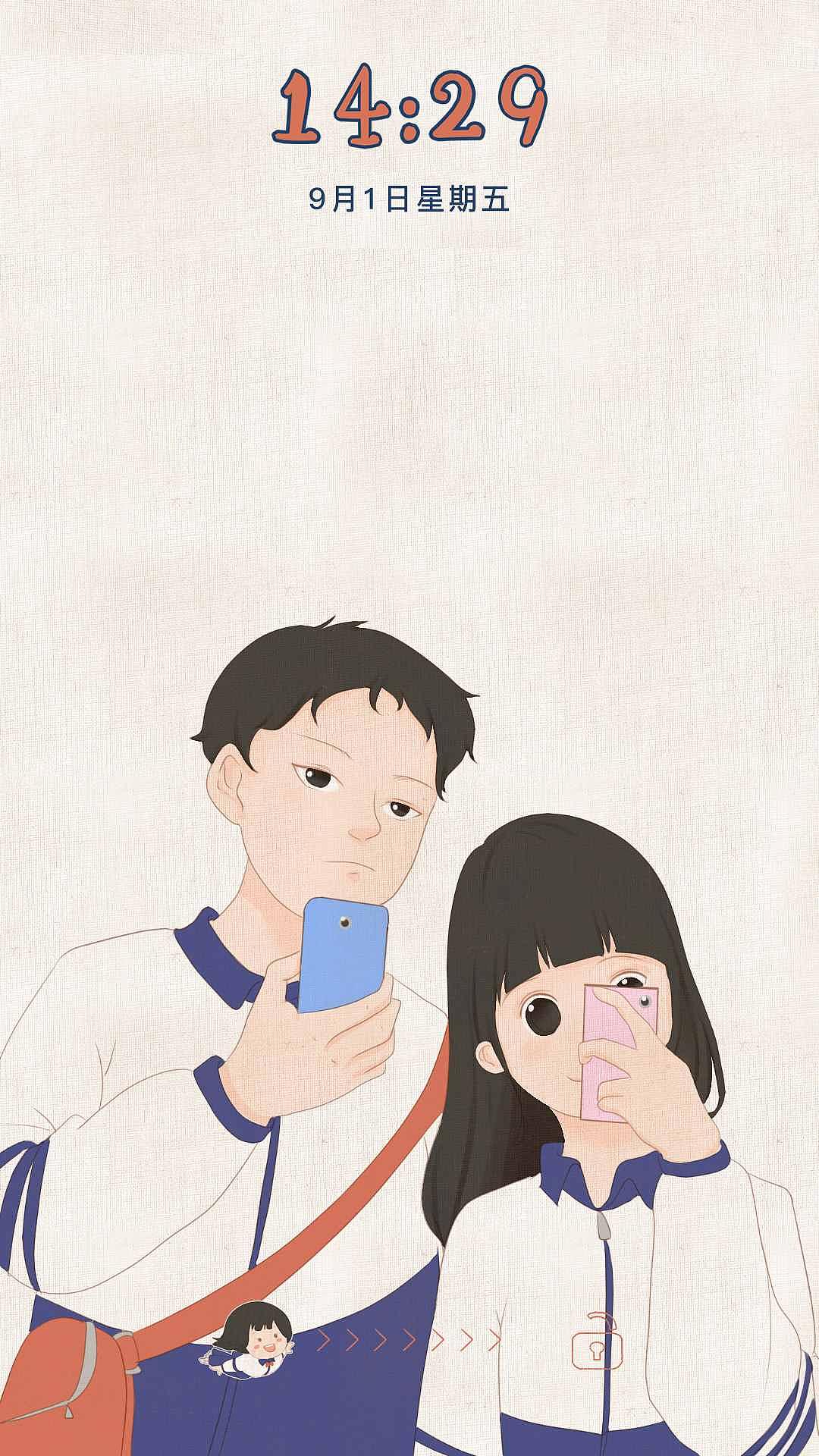 全手绘青春插画风格的手机主题|ui|主题/皮肤|漂亮婆