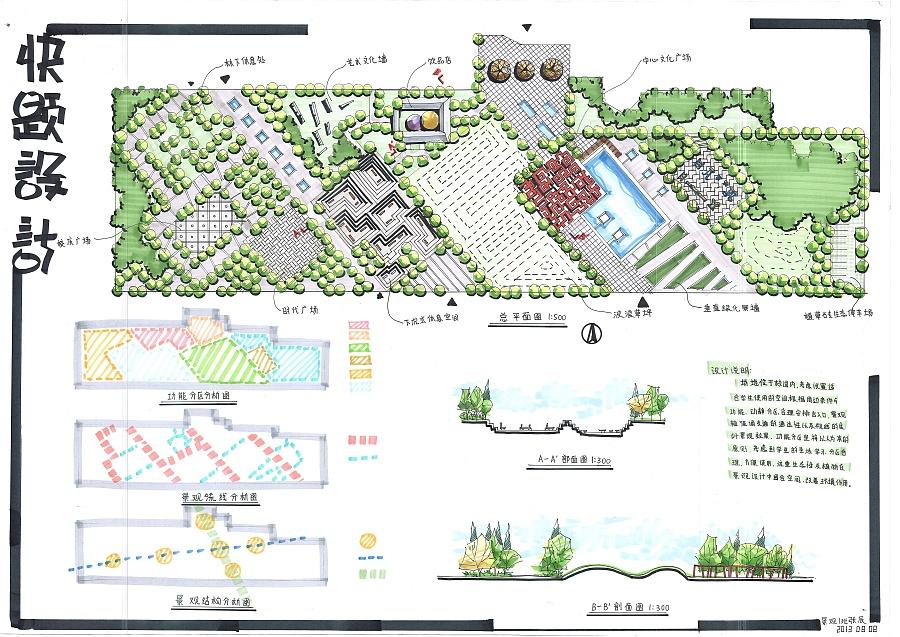 景观设计快题 园林景观/规划 空间/建筑 正影负形