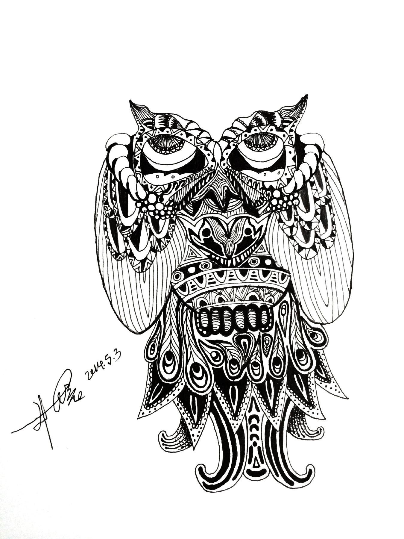 手绘插画 图腾 猫头鹰