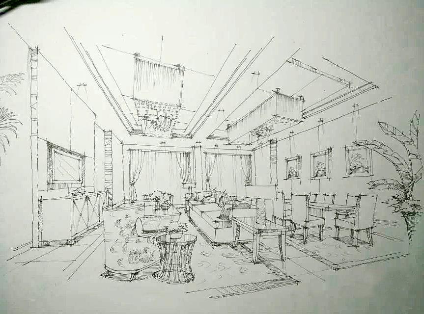 手绘线稿|空间|建筑设计|wangqi9211 - 原创作品