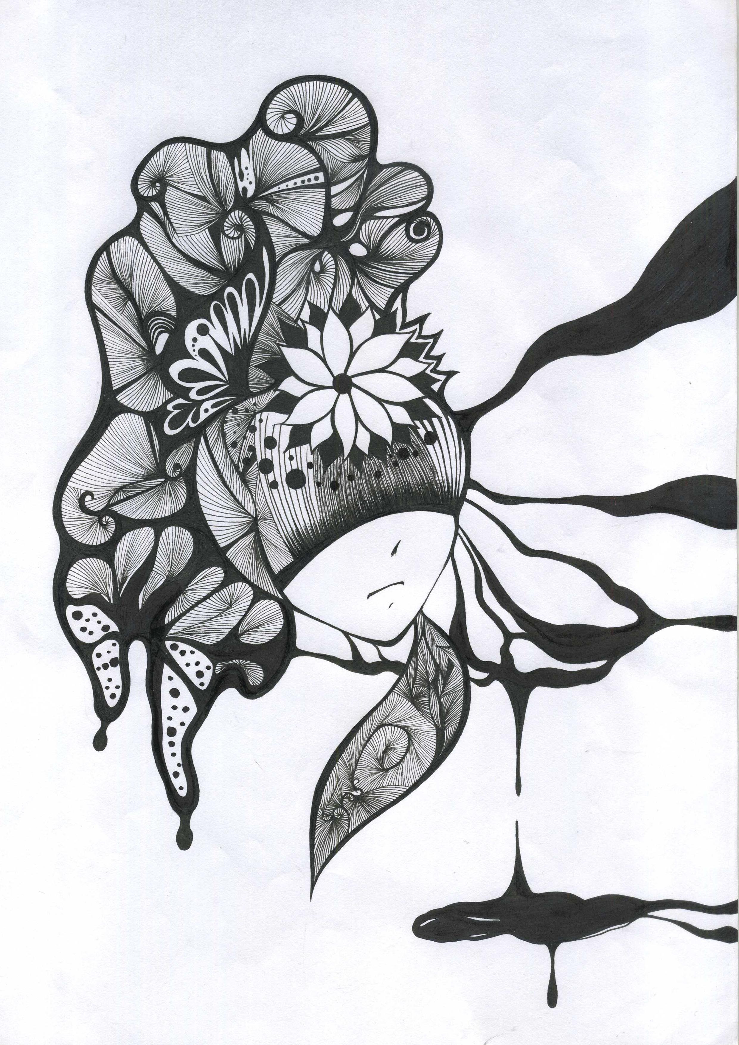 黑白画美丽的裙子手绘