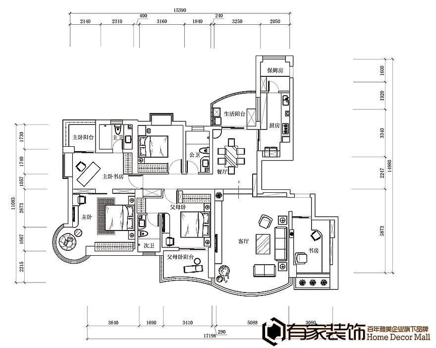 厦门国贸春天176平户型二手房装修设计效果图装修内室v户型图片