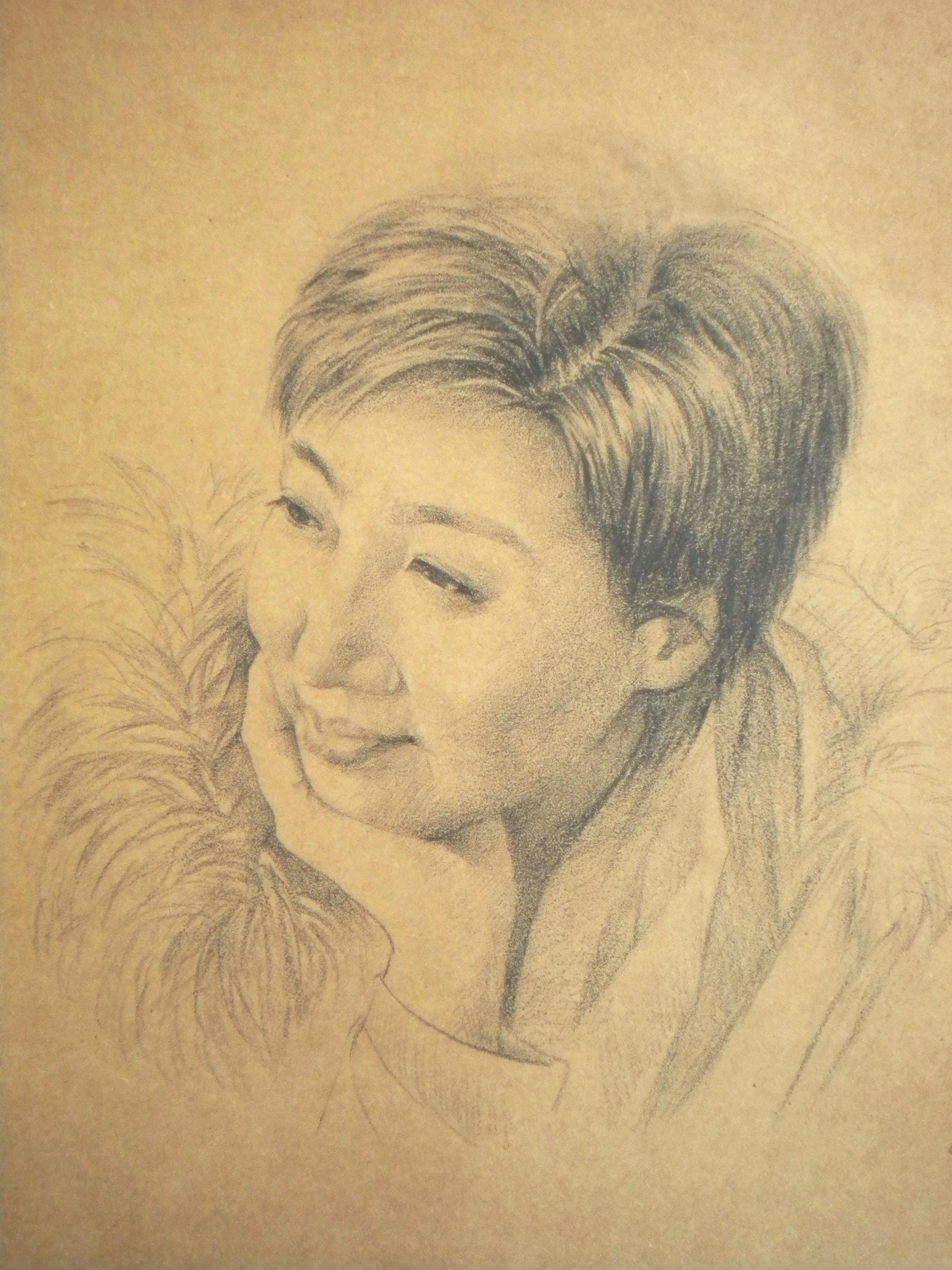 超写实素描肖像画彩铅手绘人物