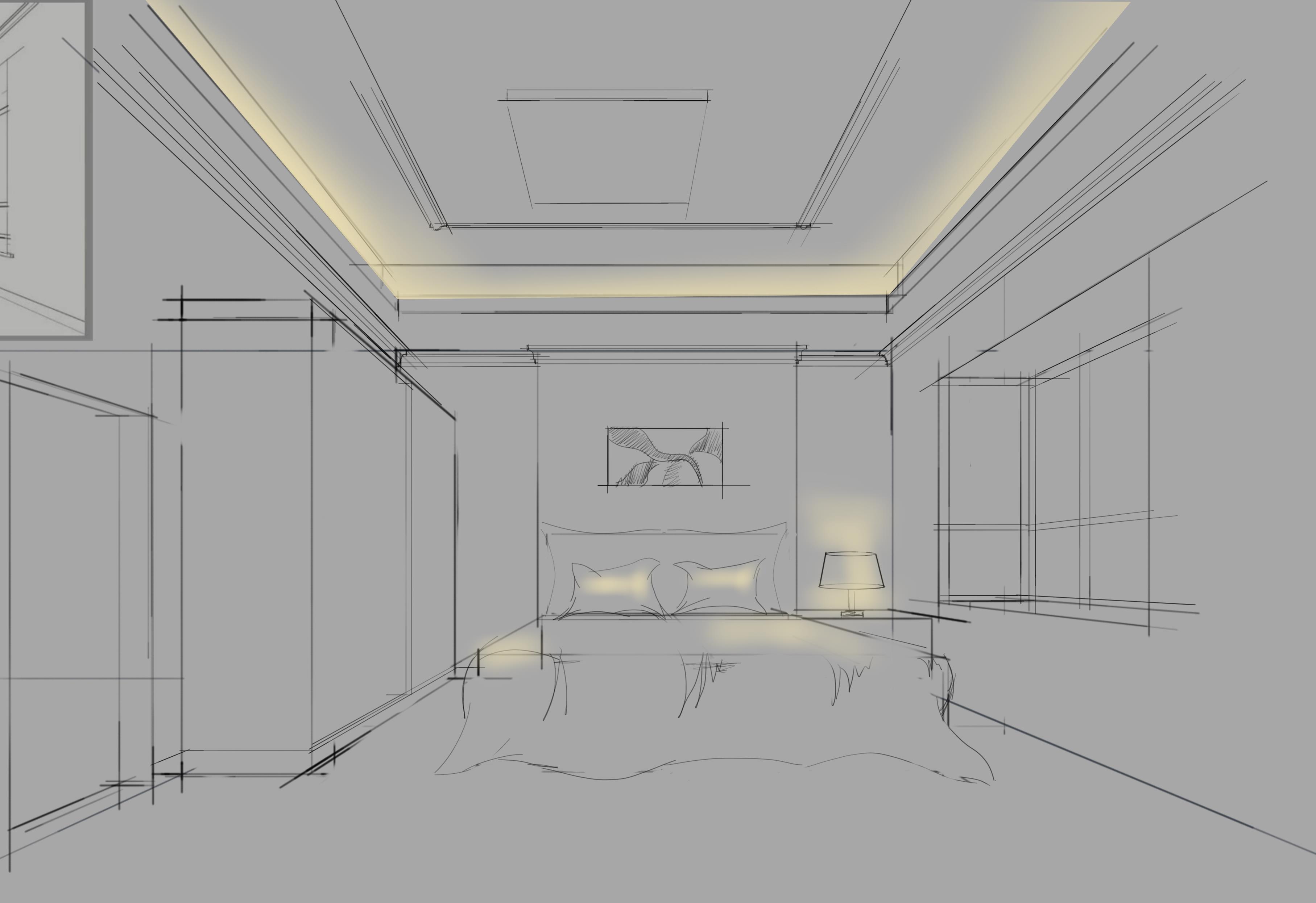 skb一点两点透视线稿|空间|室内设计|小明牛逼 - 原创