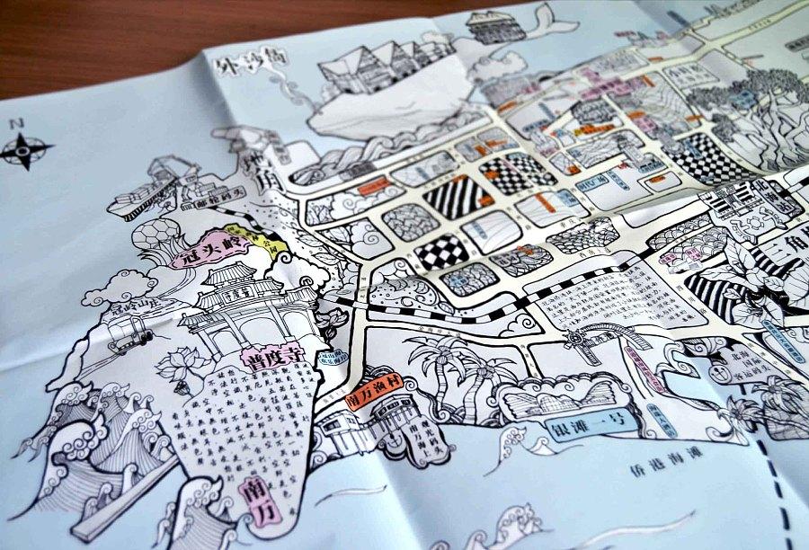 广西北海-第一份手绘地图