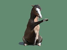 一匹坐着的马