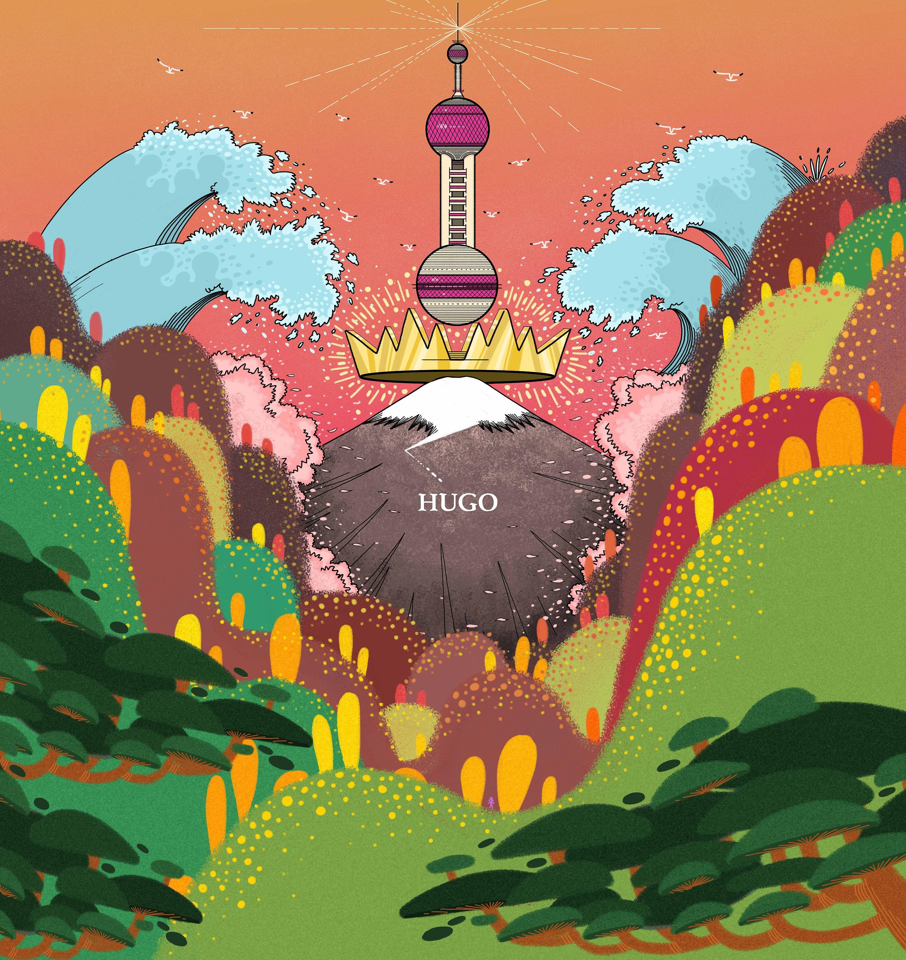 富士山+东方明珠|插画|商业插画|雨果hugo - 原创作品图片