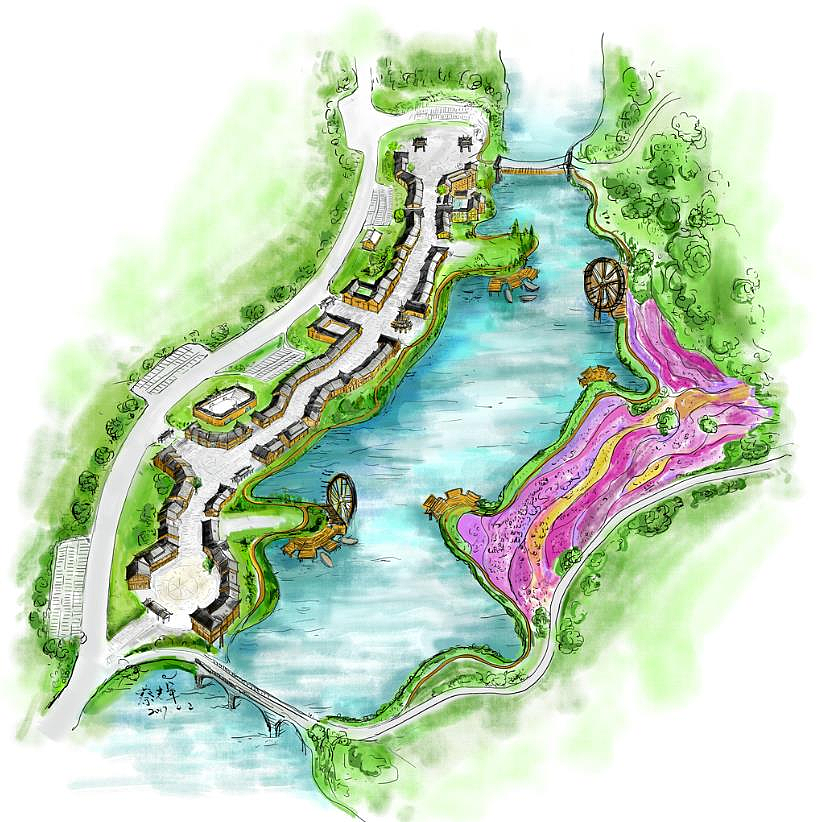 丹寨万达小镇景区手绘图
