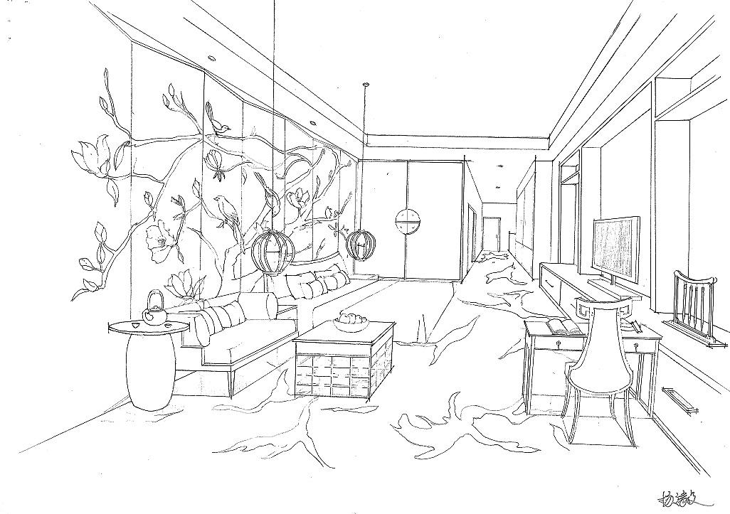 手绘练习|空间|室内设计|羊dane - 原创作品 - 站酷