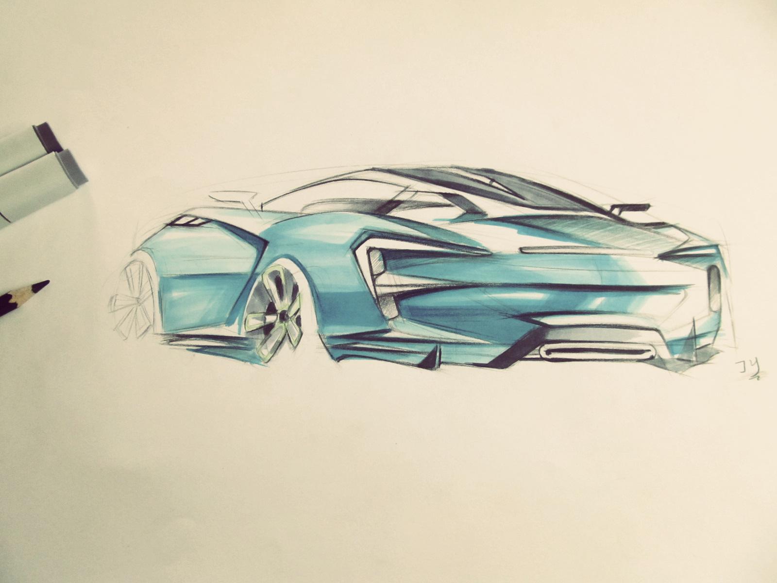 汽车马克笔手绘|工业/产品|交通工具|cheal丶z - 原创