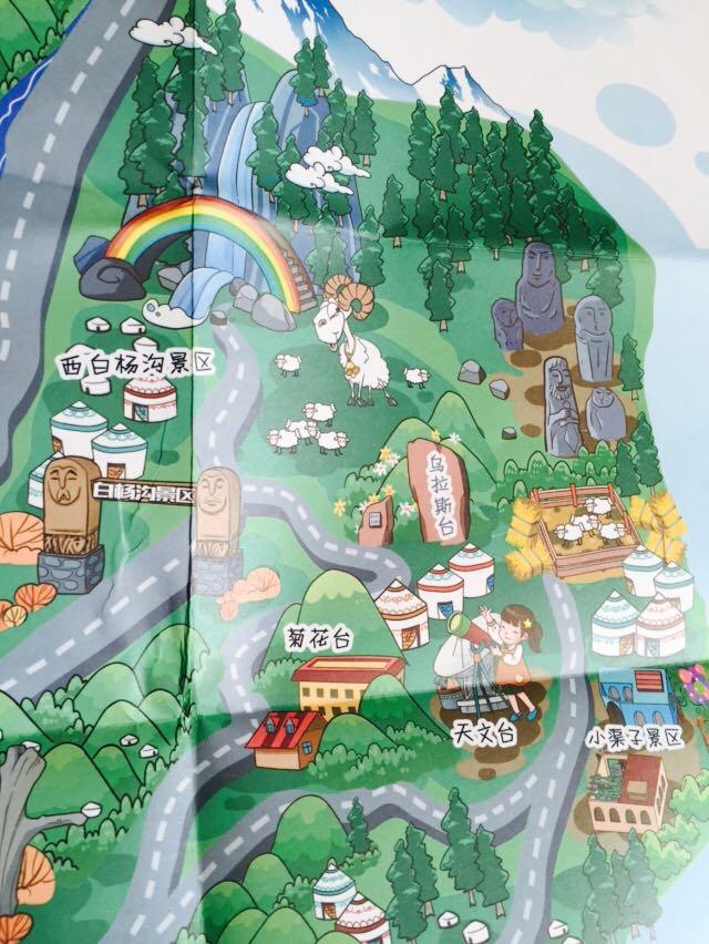 乌鲁木齐县旅游手绘地图-王小猫|商业插画|插画|猫