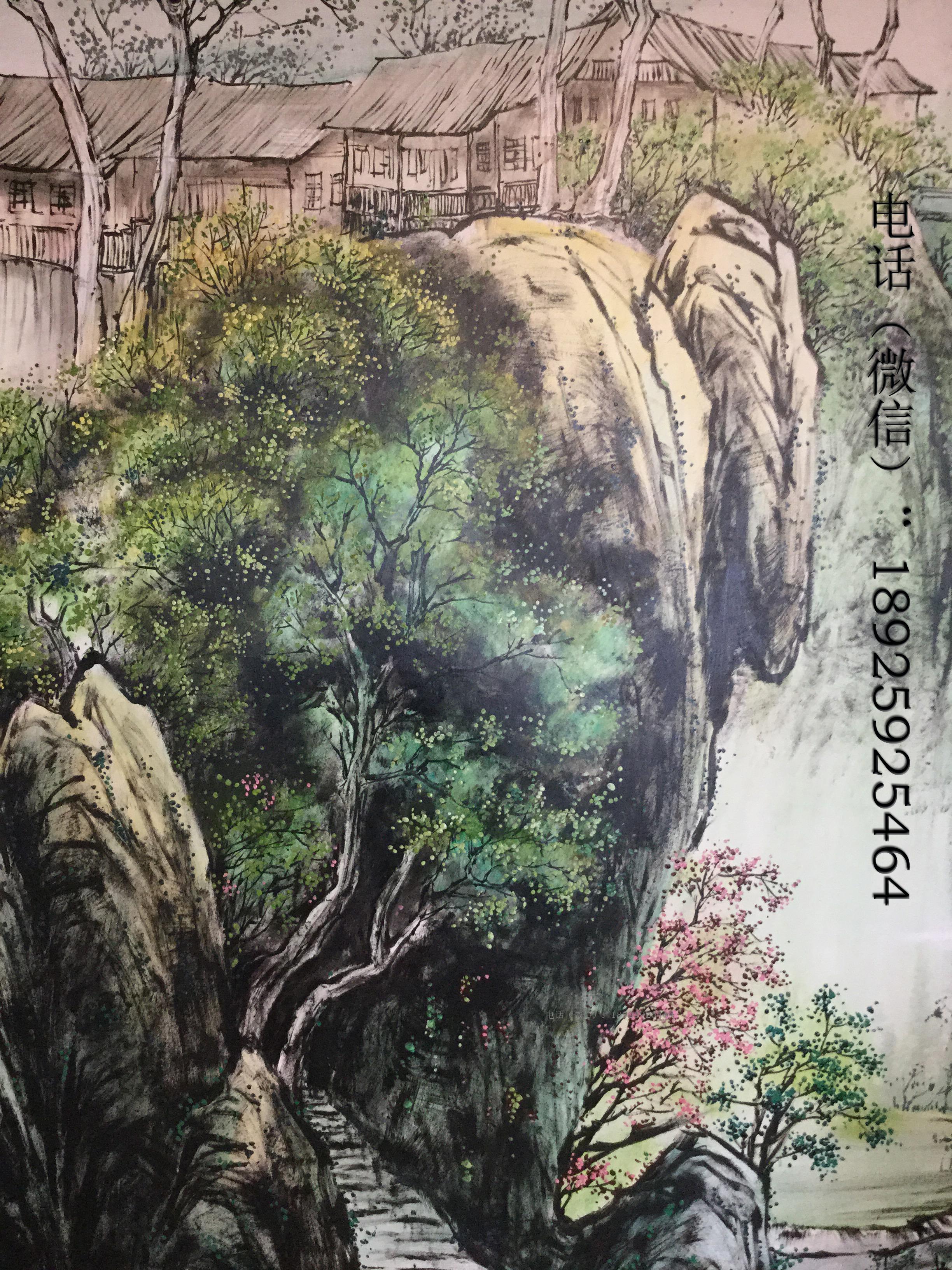 手绘墙山水画国画墙绘