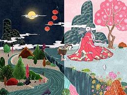 《兔神》-献上果子中秋礼盒插画设计