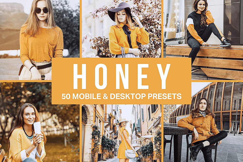 【P221】复古黄色调胶片LR预设+3DLUT预设 sparklestock  Honey Yellow Lightroom Presets