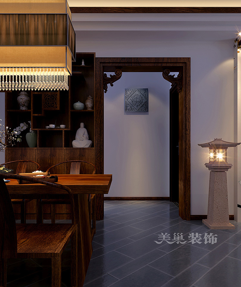 海马公园120平三室两厅新中式装修设计