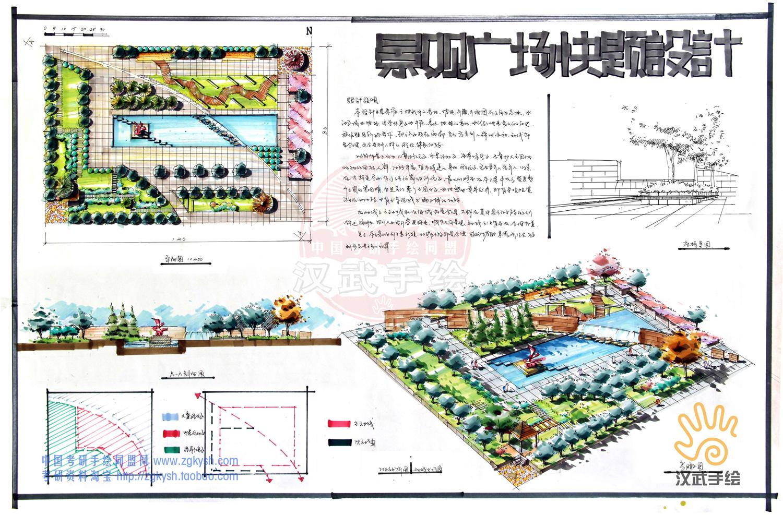 汉武景观手绘快题|空间|景观设计|汉武手绘 - 原创