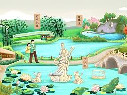 南京旅游景点长图手绘