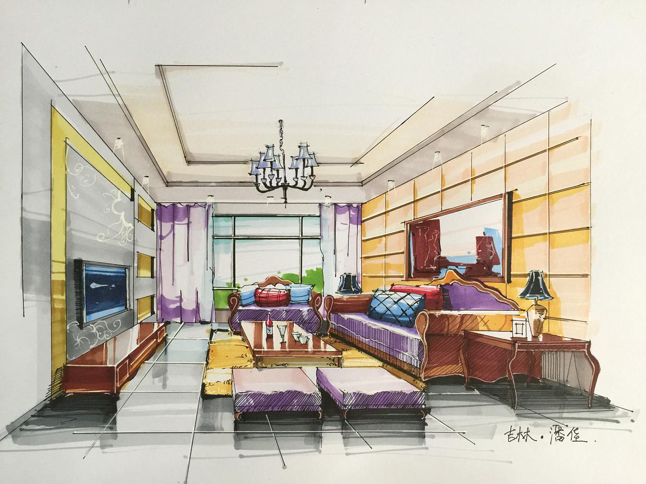 环艺室内设计手绘效果图|空间|室内设计|潘佳0603
