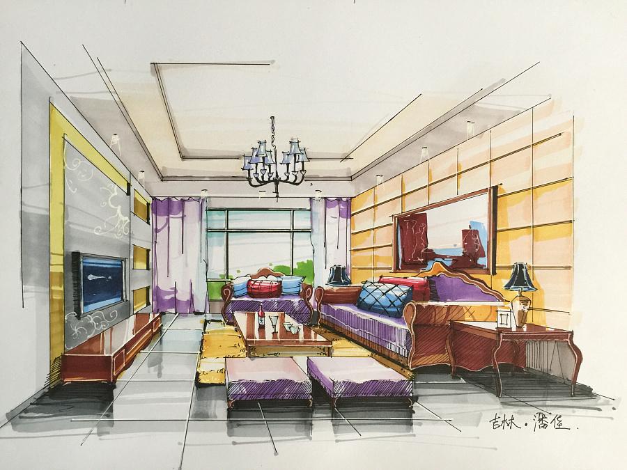 环艺室内设计手绘效果图|室内设计|空间|潘佳0603