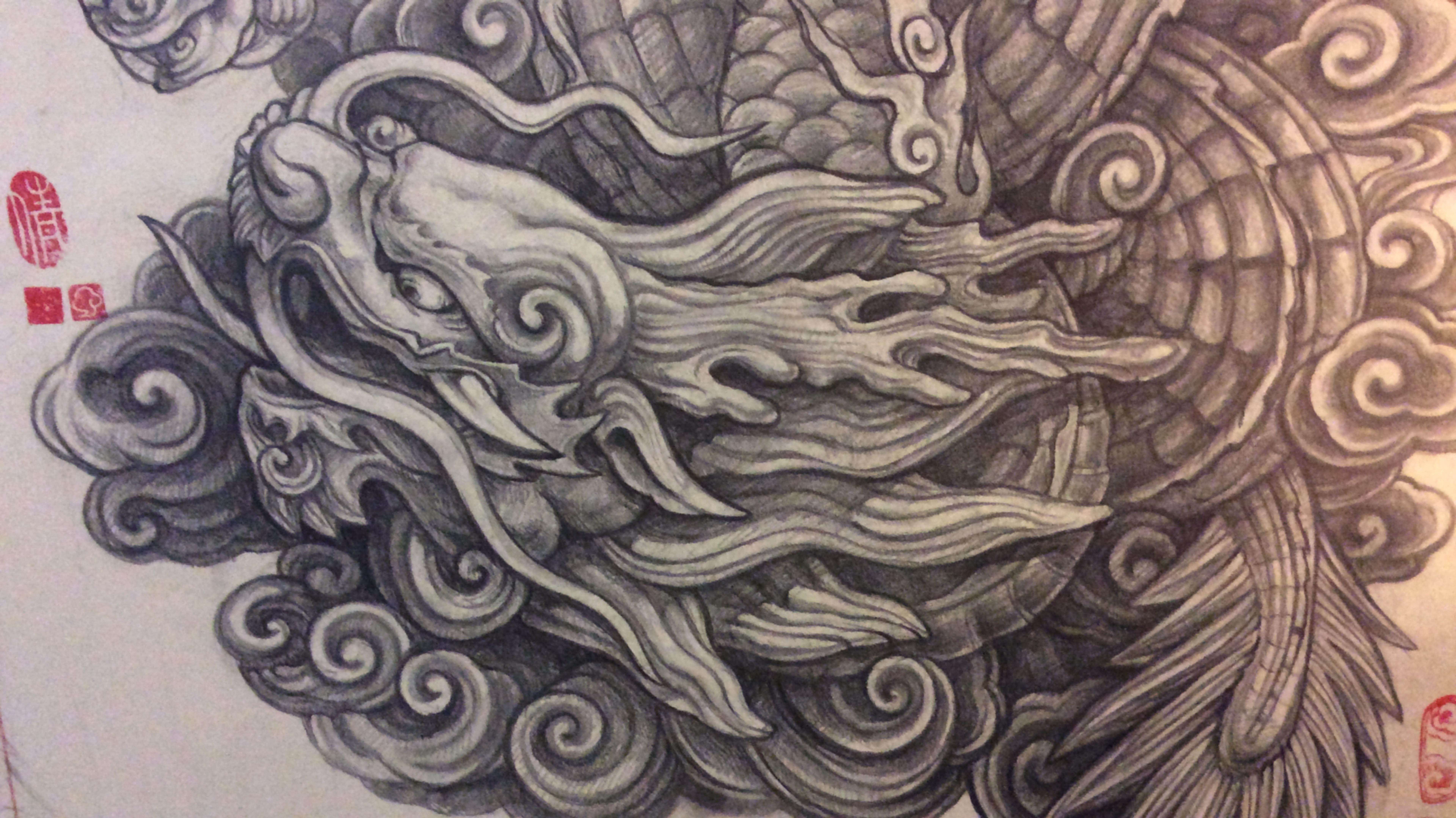 尝试画的纹身图 中国风格的龙 用以文在大腿上的纹身设计图片