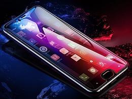 钢化膜精修3C手机类型效果平面合成