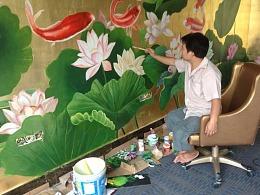 30金箔上画九鱼图墙体墙上也可以手绘图彩绘