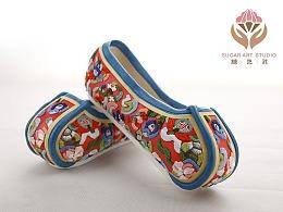 糖艺社美食文创产品--翻糖绣花鞋系列