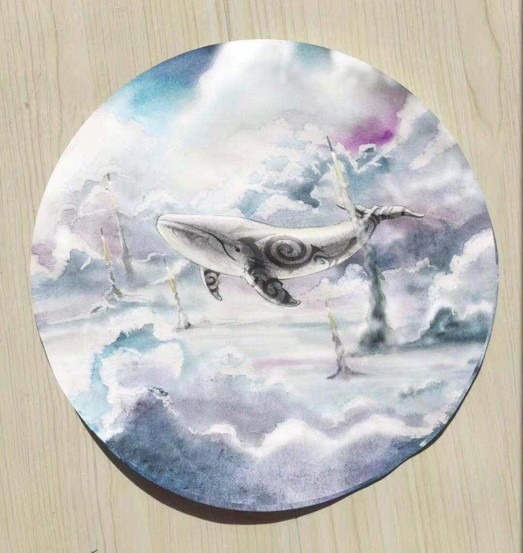 鲸鱼的猜想,水彩,彩铅,手绘图片
