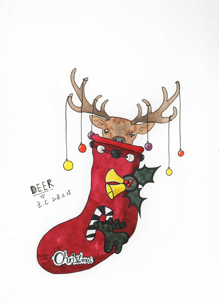 圣诞节随笔水彩创意插画|||长歪了的小树苗 - 原创图片