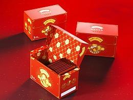 怡湘人花茶黑茶茶砖茶叶包装设计复古中式设计