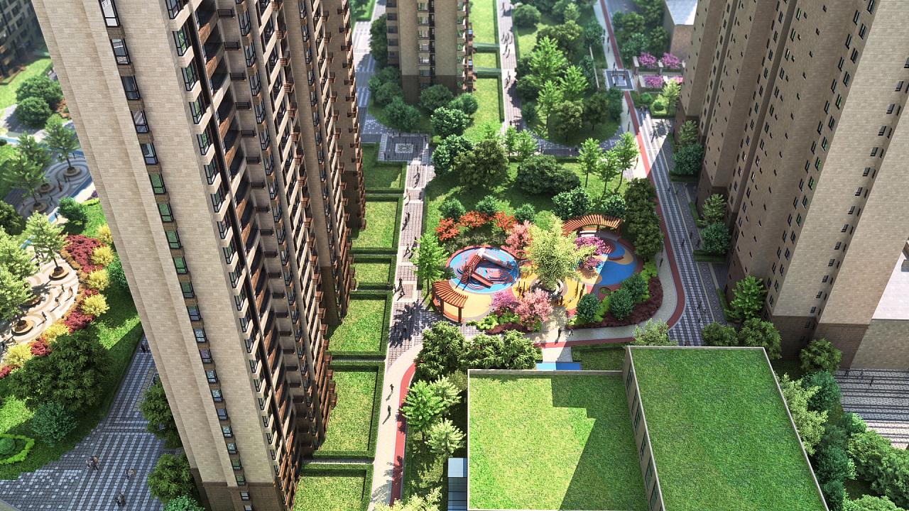 住宅小区景观半鸟瞰|美华|建筑/空间|三维v景观挂车车架设计图图片