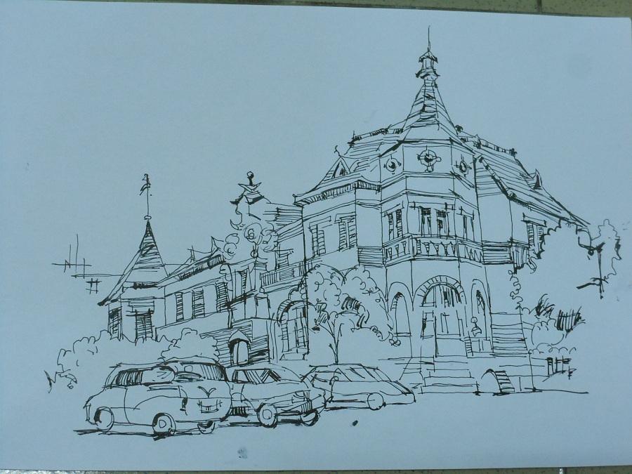 建筑速写|钢笔画|纯艺术|by静儿图片