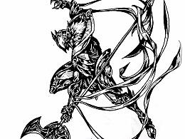 40日日画整理-黑白风格-英雄联盟主题