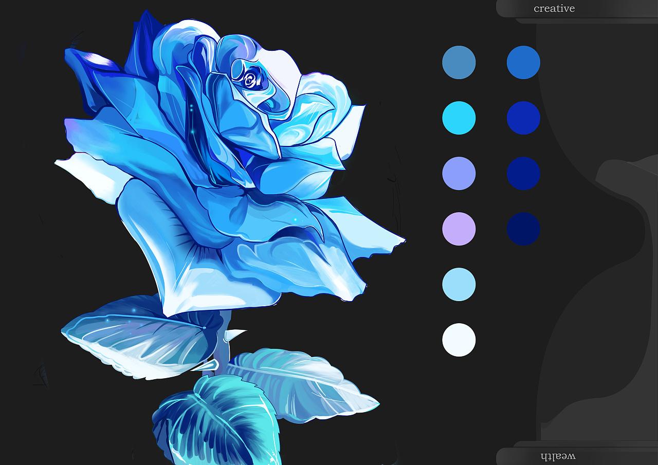 手绘练习-蓝玫瑰练习