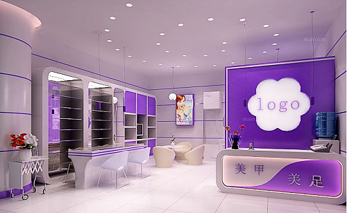 成都美甲店装修设计-现代简约风格美甲店设计