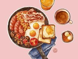 板绘水彩美食