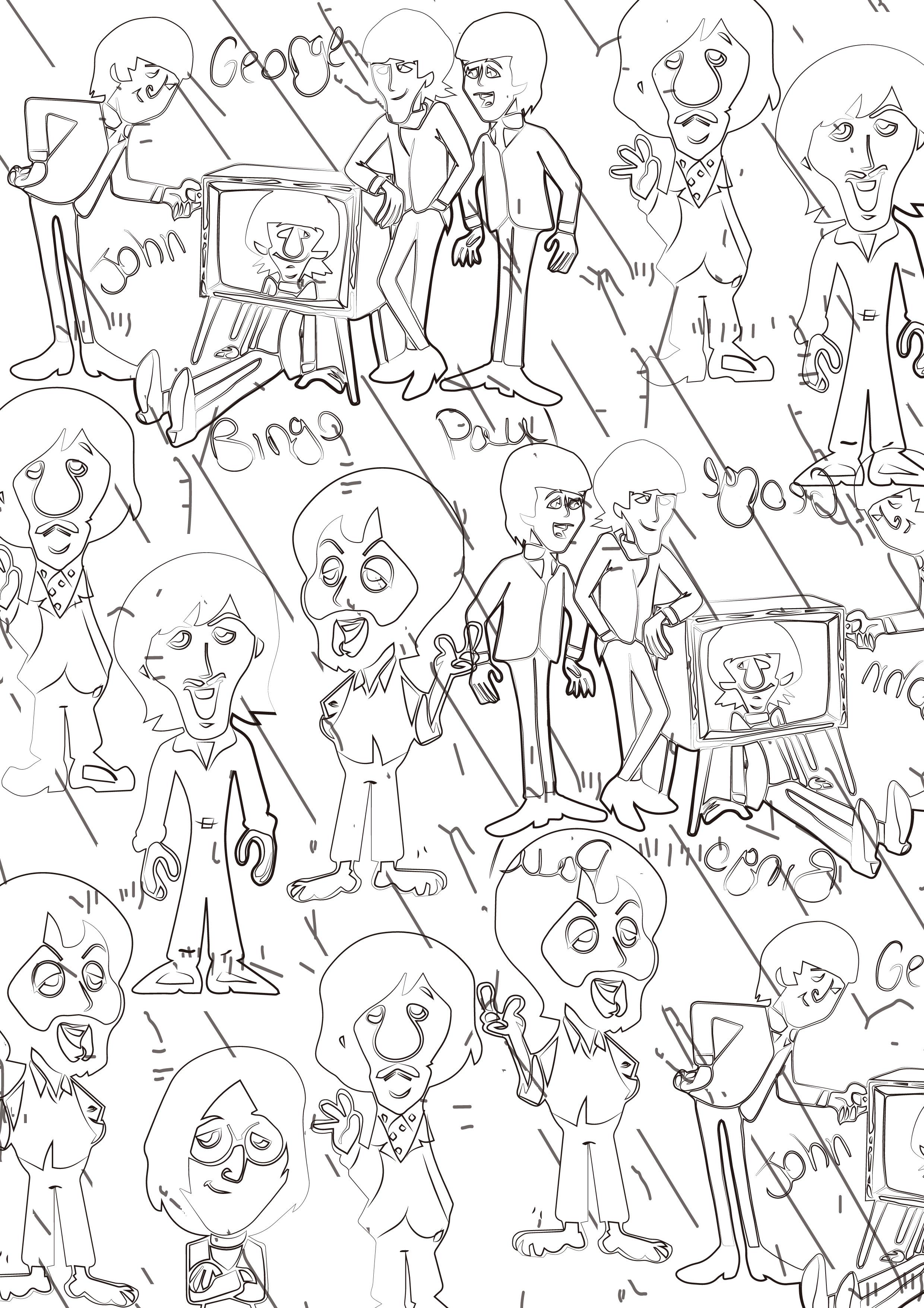 黑白线条漫画 印花 图案 流行 元素图片
