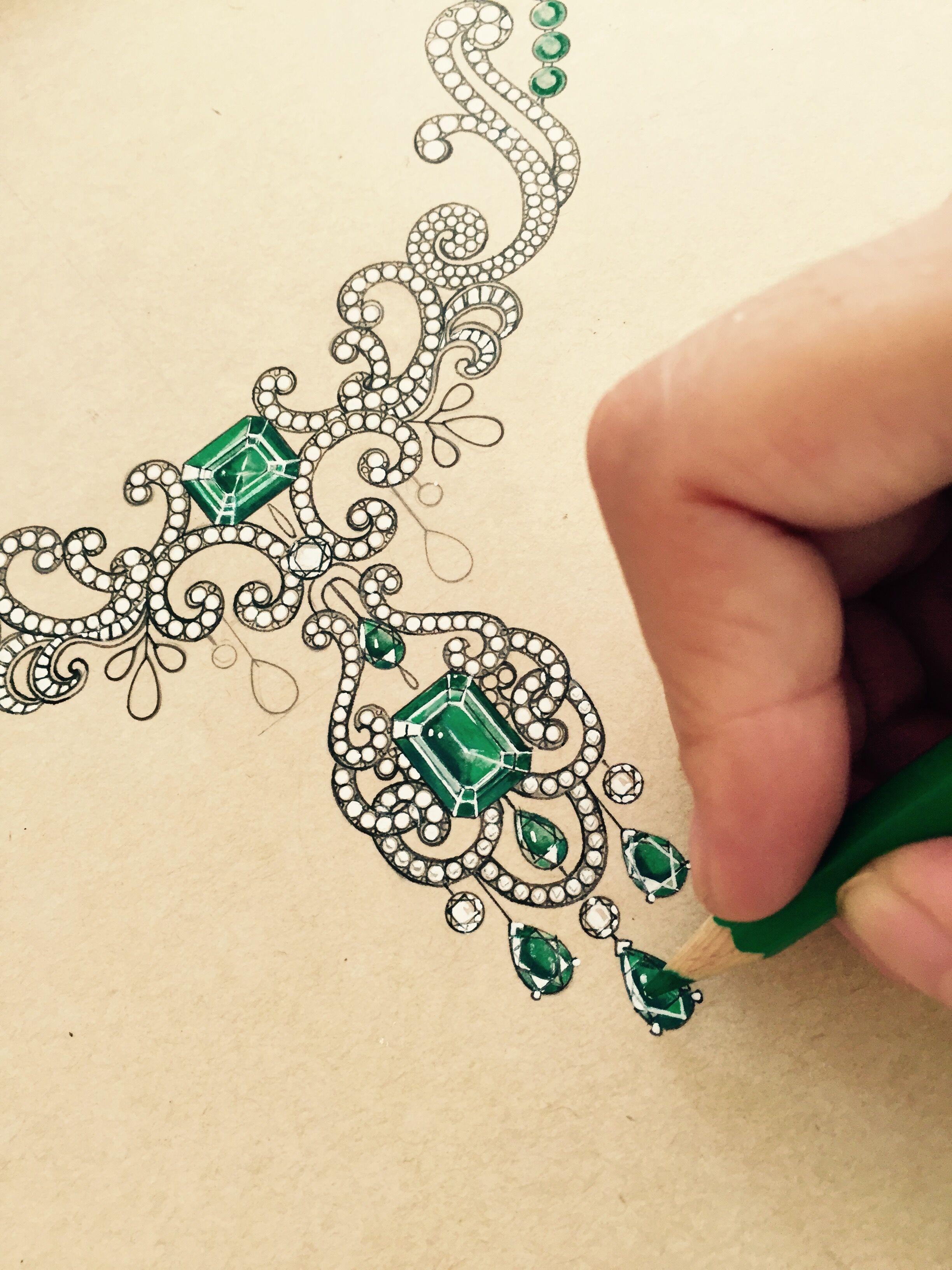 珠宝设计手绘-珠宝设计绘图入门-珠宝设计图手稿铅笔画-大师珠宝设计