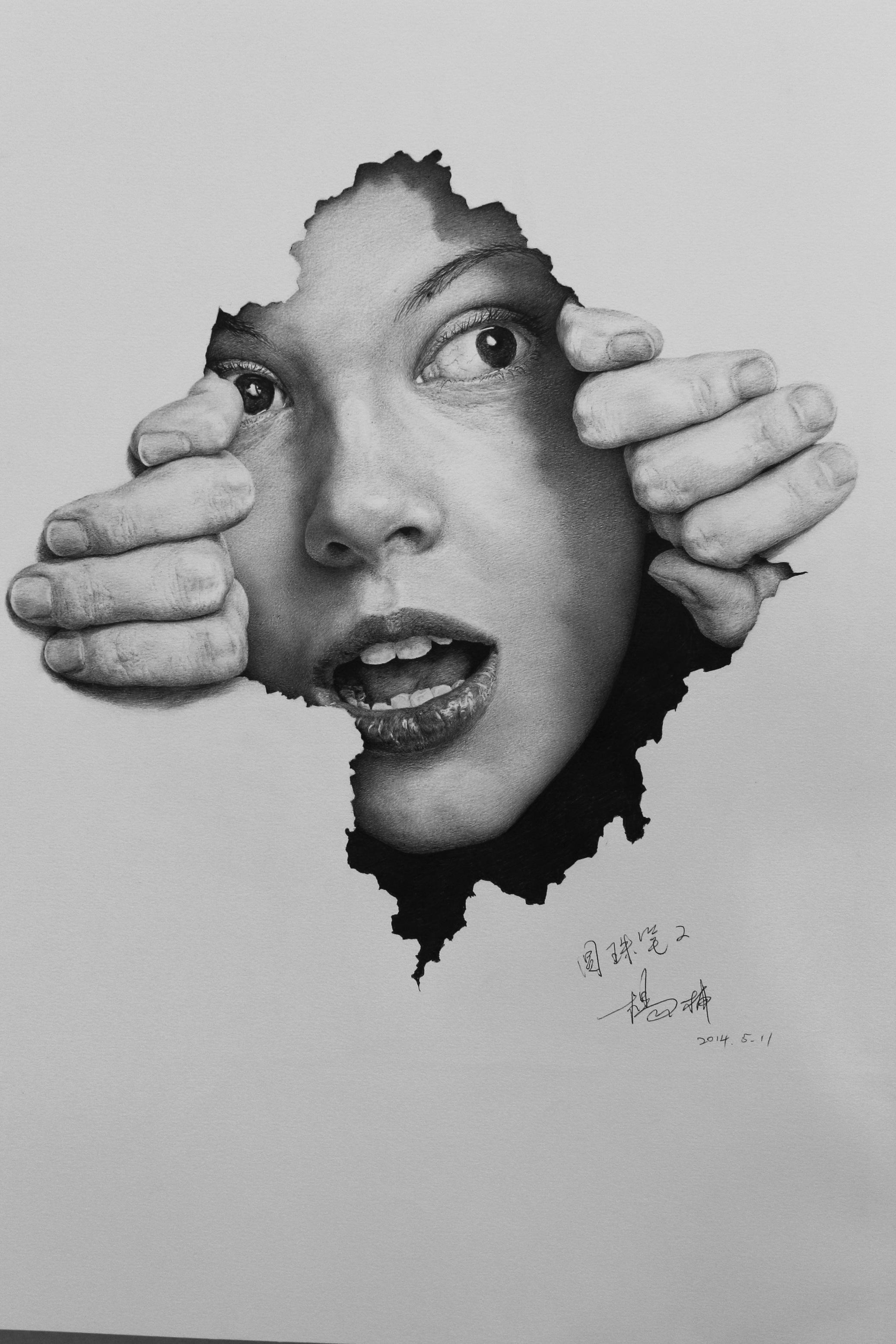 手绘头像酷黑白写实