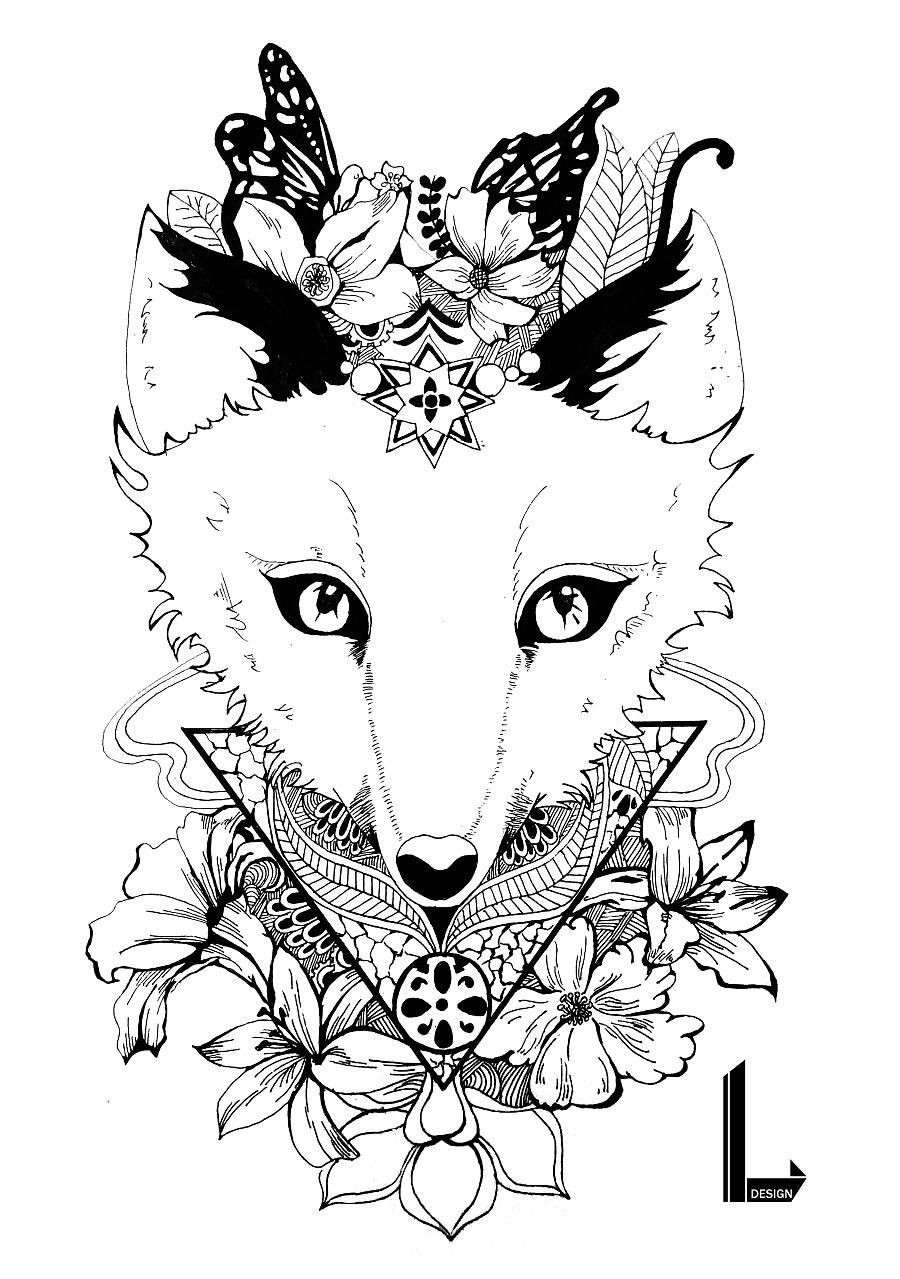 动物系列-黑白手绘装饰画|涂鸦/潮流|插画|wher
