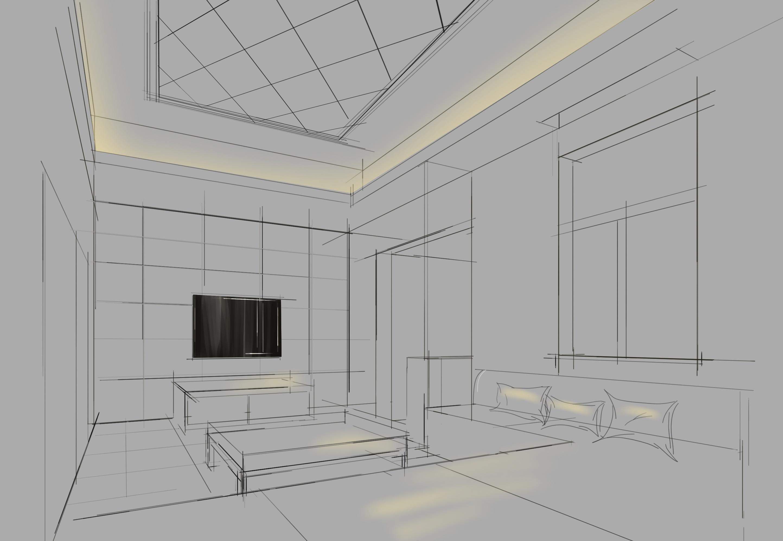 skb一点两点透视线稿|空间|室内设计|tm小明同学