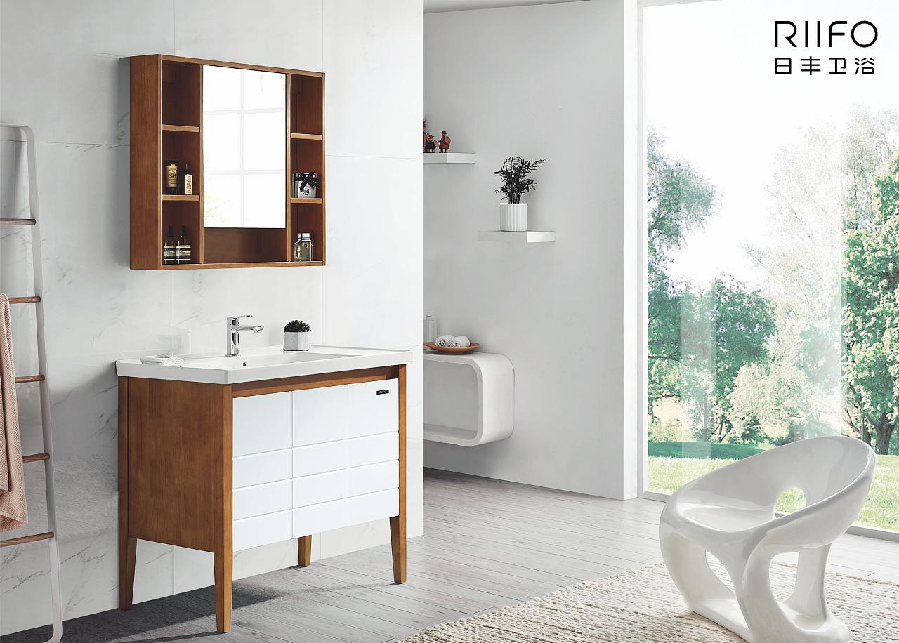 日丰浴室柜海报图片以浴室柜产品应用场景为内容,画面典雅精致,色彩
