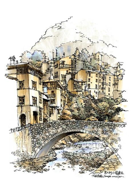 意大利小镇建筑手绘