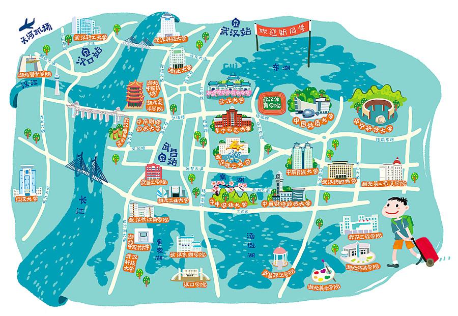 武汉高校地图 手绘地图|商业插画|插画|pcl79