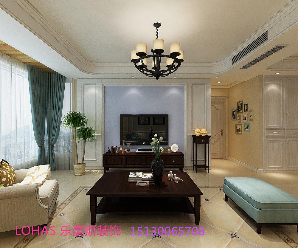 电视墙主要是以简约的护墙板,配整体色彩.沙发背景的线条简约不简单.图片