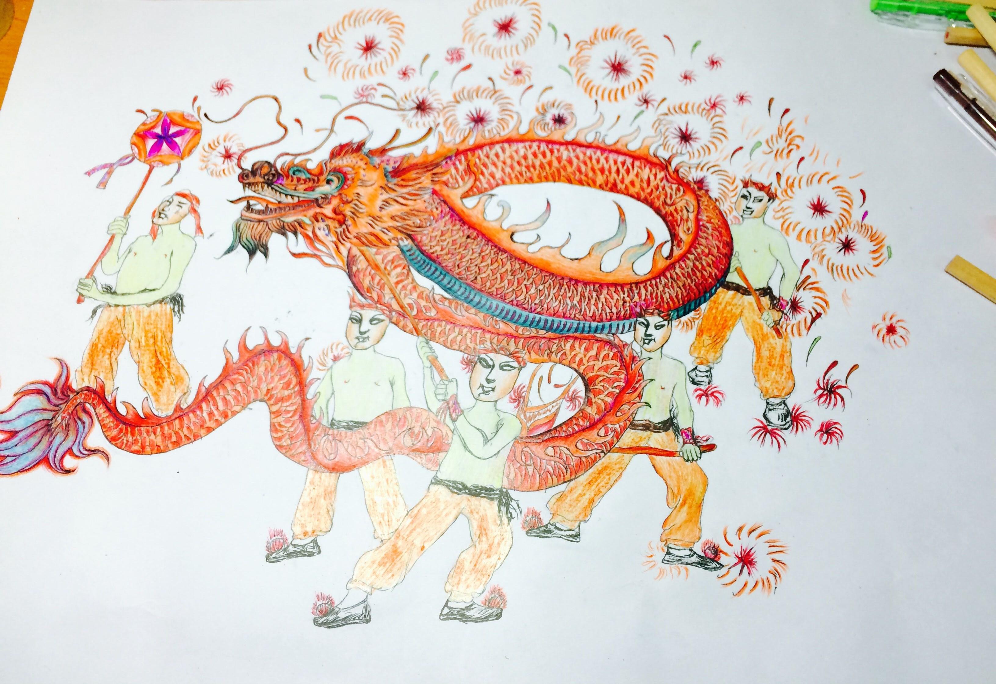 舞龙图片手绘彩色