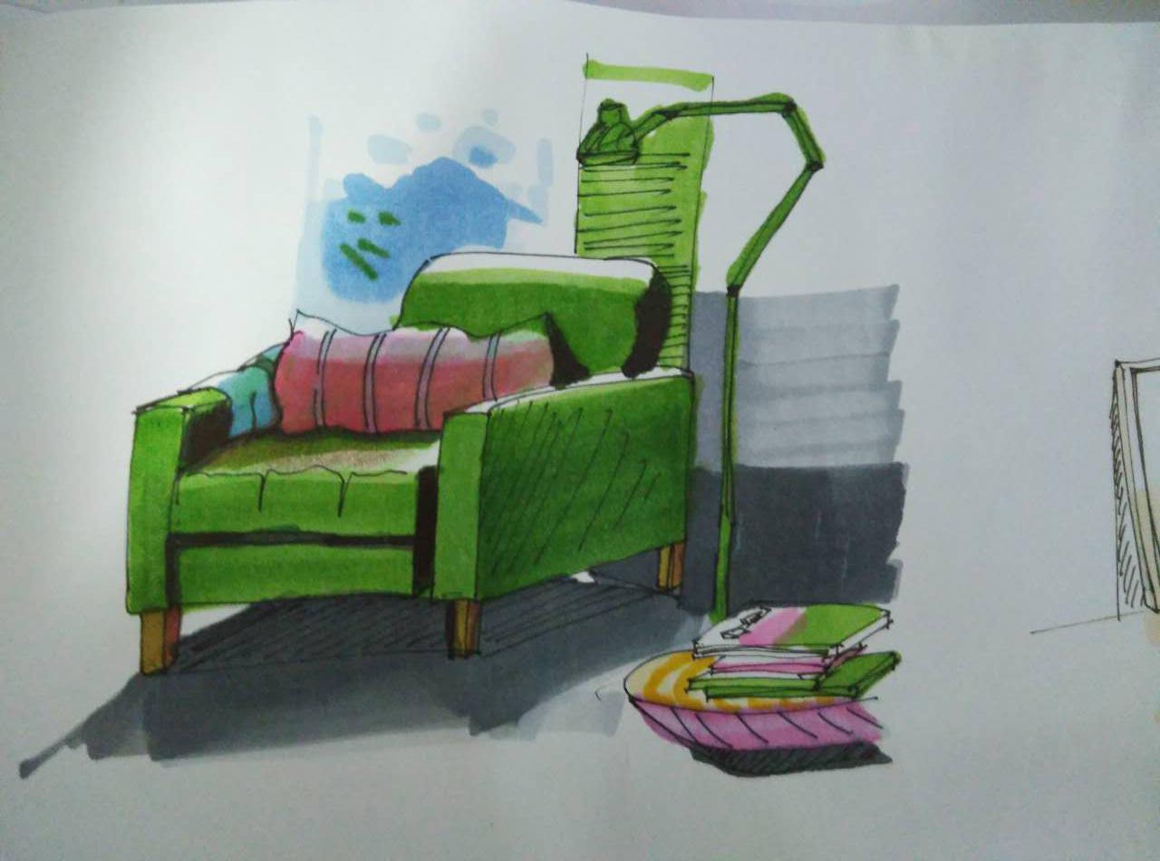 单体家具马克笔,彩铅类