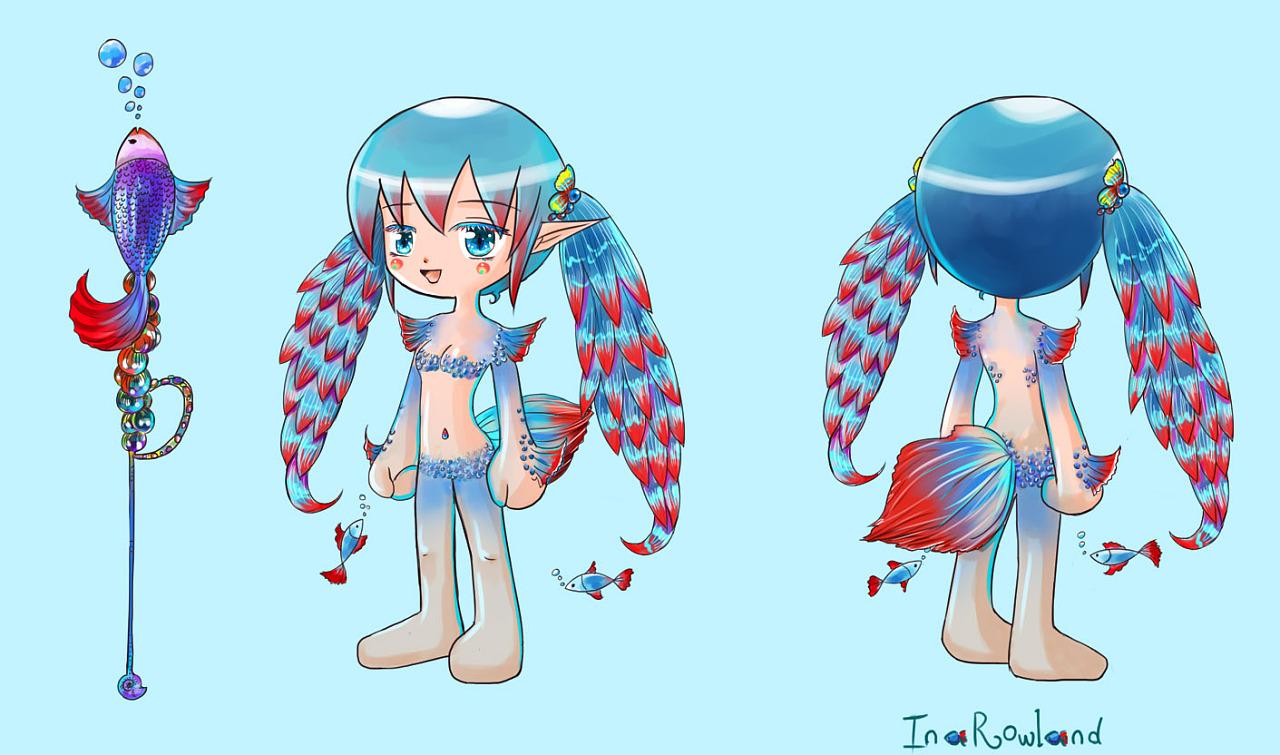 【游戏服装设计】萌萌的人鱼精灵图片