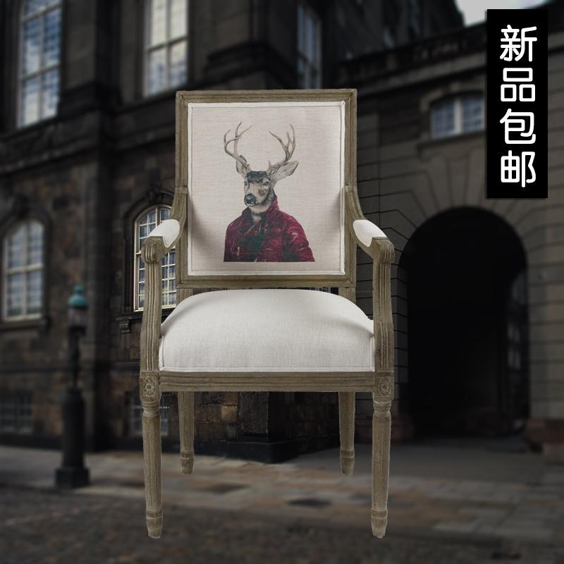限时包邮欧式实木餐椅复古古典椅龙门椅主图