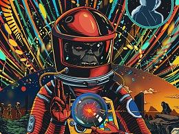 2001太空漫游电影插画海报